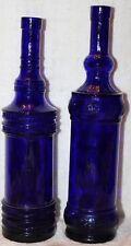 Vintage? Tall Skinny Cobalt Blue Wine Bottles Display Decorative Bottles Leaf X2