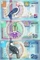 Suriname 2000 > 5 /10 /25 Gulden, Banknote set UNC