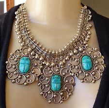 Vintage Necklace Huge Bellydance Egyptian Scarab Pendants W Piles of Bell Fringe