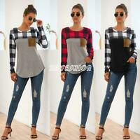 Women Long Sleeve Plaid T-shirt Blouse Casual Crew Neck Geometric Pullover Tops