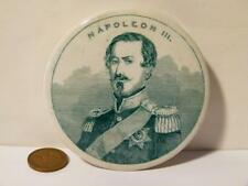 19thC NAPOLEON III Portrait Green Print Pot Lid UNRECORDED Shaving Cream Pomade