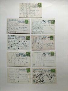 1920's Lot of 9 Ben Franklin 1 Cent Stamp Used On Vintage Postcard