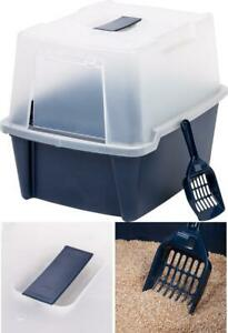NEW IRIS USA Large Hooded Litter Box with Scoop and Grate, Blue CLH-15