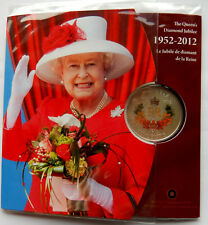 2012 Canada 50 Cent Queens Diamond Jubilee 1952 Coloured Silver Plated Coin