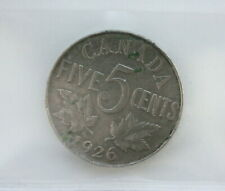 1926 George V 5 Cents Nickel CAN • Far 6 Corrosion • Grade F-15