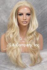 Human Hair Blend Full Deep Lace Front Wig Heat OK Wav Blonde Mix JSEM 613-27