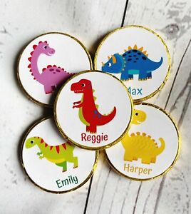 5 x Personalised Dinosaur Chocolate coins Party bag filler Birthday Favour