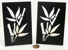 Tea Light Candle Holder Bamboo Pattern Silhouette Shadow Frosted Glass and Metal