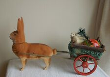 Antique Vintage German Easter Rabbit Bunny Candy Container with Wagon Egg