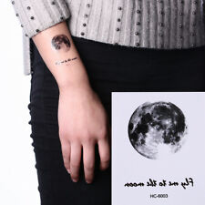 Waterproof Temporary Fake Tattoo Sticker Vintage Grey Moon Earth Design Make Up&