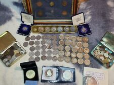 More details for a collection of old coins , sterling silver medal + badge , collection of £2