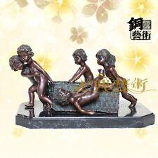 Art Deco Sculpture 5 Nude Kids Childen Cherub Boy and Girl Bronze Statue