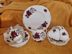 "21 piece Colclough Bone China ""Amoretta"" Rose Tea Set. 6 Trios, Jug, Bowl, Plate"