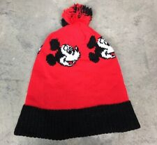 6a919fa2cd2 80s 90s VTG MICKEY MOUSE DISNEY STRIPED SKI Knit Beanie Winter Hat Pom  Black Red