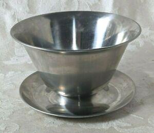Raimond Gravy Boat Stainless Steel 18/8 Denmark Sauce Bowl Under Plate Vintage