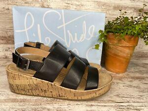 New~ Women's LifeStride Wynonna Black Slingback Cork Wedge Sandals Size 8 W Wide