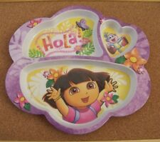 "plastic plate Hola Dora the Explorer 8.5"" tall 9.25"" wide figural shape 3 sect"