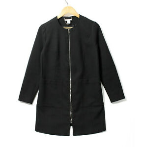 H&M MAMA jacket in textured weave black lined front pockets S coat maternity