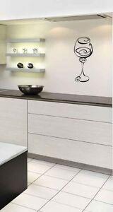 Wine glass Wall Art Vinyl Sticker Home Kitchen Dining Room Lounge diy