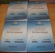 2008 Dodge Durango Chrysler Aspen Shop Service Manual Vol 1 2 3 4 Set 08