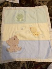 Vintage Reversible Green Yellow and Blue Baby Blanket With Frog Duck And Dog