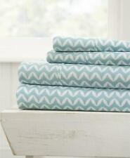 ienjoy Home Farmhouse Ultra Soft 4 Piece King Sheet Set Striped Light Blue $84