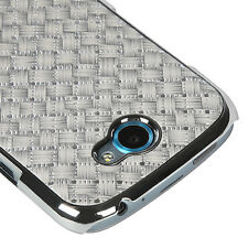 For T-Mobile HTC ONE S HARD Protector Case Snap Phone Cover Silver Plaid Plating