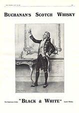 PUBLICITE BUCHANAN'S  BLACK & WHITE &  SCOTCH  WHISKY  Original Print Ad 1912