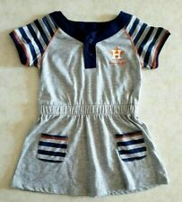 HOUSTON ASTROS Girls Dress Size 2T Gray Striped Sleeves Front Pockets MLB New