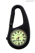 NERO clip su Carabiner FOB orologio quadrante luminosi per Medici Infermieri Paramedici