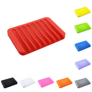 Creative Silicone Soap Dishes Containers Tray With Drain Shower Room