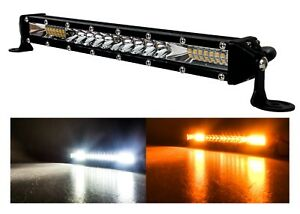 "10"" White Amber Ultra Slim Dual Color Changing Osram LED Light Bar Offroad 12v"
