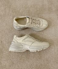 Gucci Women Rhyton Distressed Leather Sneakers Ivory Size 38