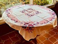 "Vintage Cotton Tablecloth White Background Pink Border, Floral  Design 45"" X 50"""