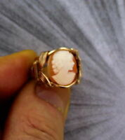 VINTAGE ANTIQUE SHELL  CAMEO RING -14KT ROLLED GOLD  SETTING - SIZE 6