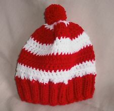 Handmade Knit/crochet Hat/beanie - red and white stripes - child size