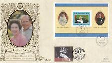 (19180) Norfolk Island Benham FDC Queen DOUBLE DATED 1997 Wedding / 2002 Jubilee