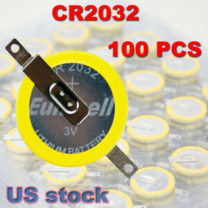 100 x CR2032 Lithium Battery with soldering tabs