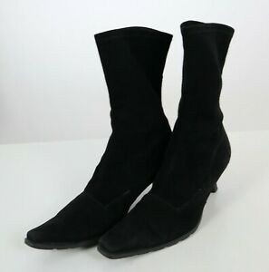 Stuart Weitzman Sock Boots Womens 9 Suede Kitten Heel Black Casual Dressy