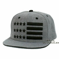 USA American Flag hat Stars and Stripes Snapback Flat bill Baseball cap- Gray