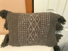 Barefoot Dreams CozyChic Tassel Accent Pillow ~GRAY 20X14