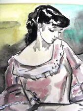 """BERTHOMME SAINT-ANDRE Louis (1905-1977) """"Femme et enfant"""" Aquarelle de 1950"""