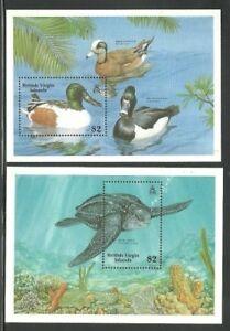 Album Treasures Virgin Islands Scott # 629-630  $4 Ducks, Turtle SS  Mint NH