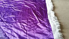 Vintage Orginal 1970s Single Bedspread Heavy Purple  Satin & White fringe