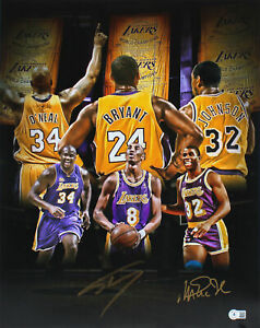 Lakers Magic Johnson & Shaquille O'Neal Signed 16x20 Photo BAS Witness #WP81407