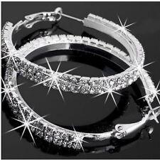 Silver Big Rhinestone Hoop Earrings Round Dangle Earrings
