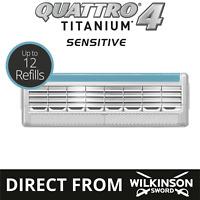 Wilkinson Sword Quattro Titanium Mens Razor Blades 4,8,12 Blades Official Seller