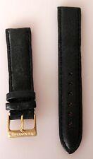 Neu Zeno Watch Basel  Uhrenband Uhrenarmband RGPSchließe Leder schwarz 20mm E106