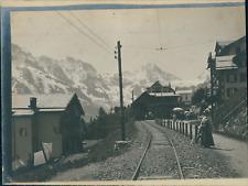 Suisse, Chemin de fer travaversant un village, ca.1906, vintage citrate print Vi