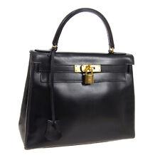 HERMES KELLY 28 RETOURNE 2way Hand Bag R Purse Black Box Calf Vintage WA00677